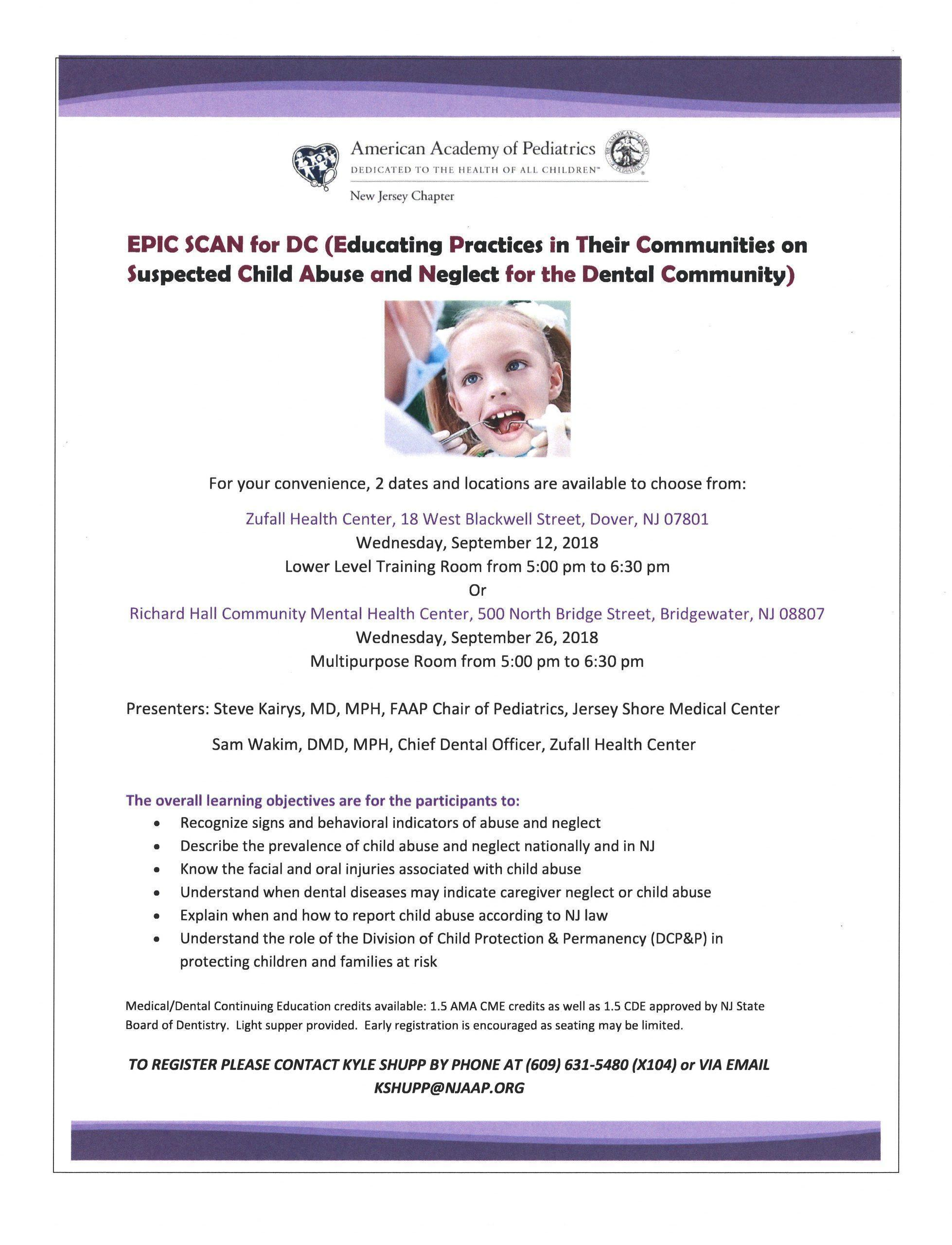 Flyer for dental seminar titled Educating Practices in Their Communities on Suspected Child Abuse and Neglect for the Dental Community