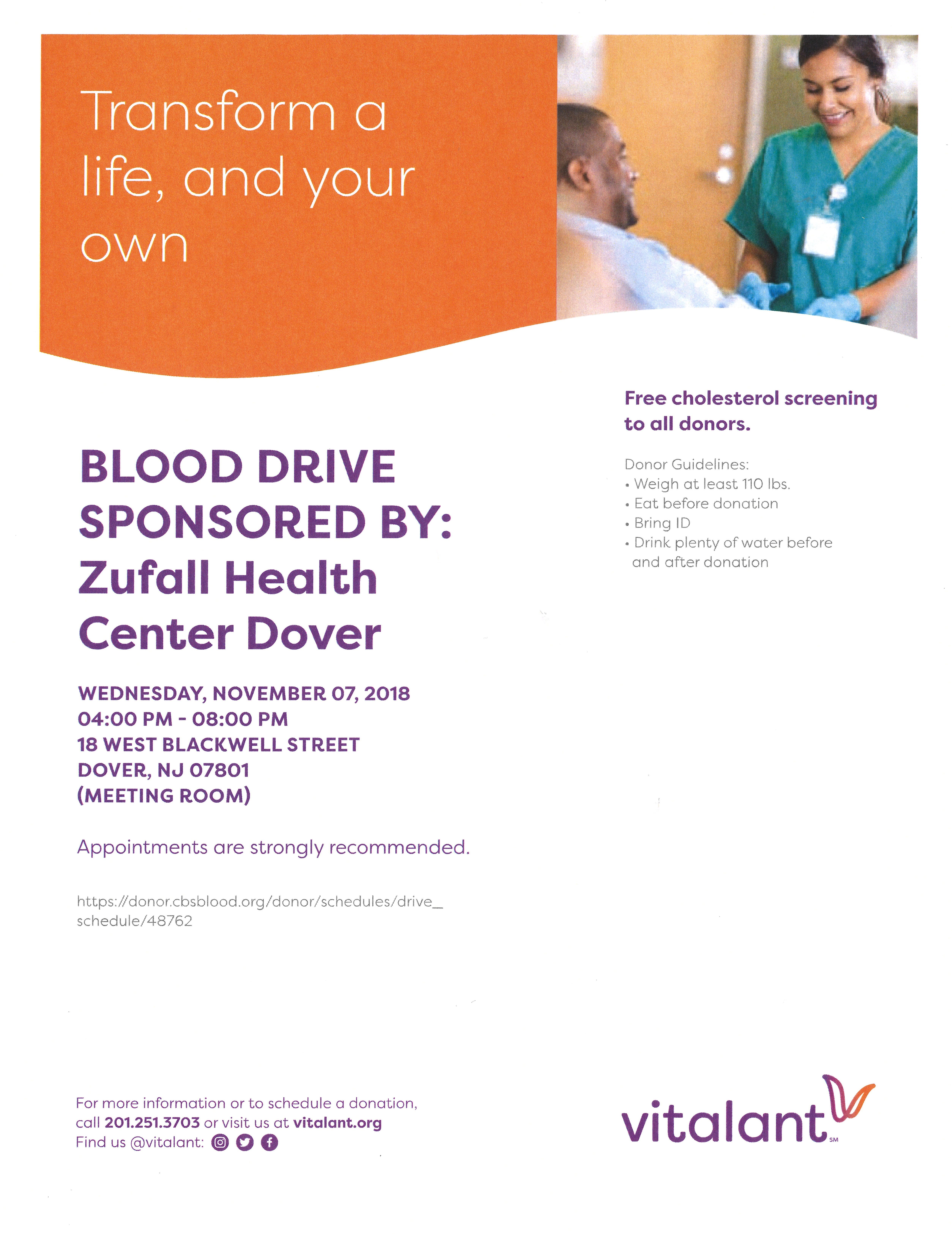 Flyer for Blood Drive