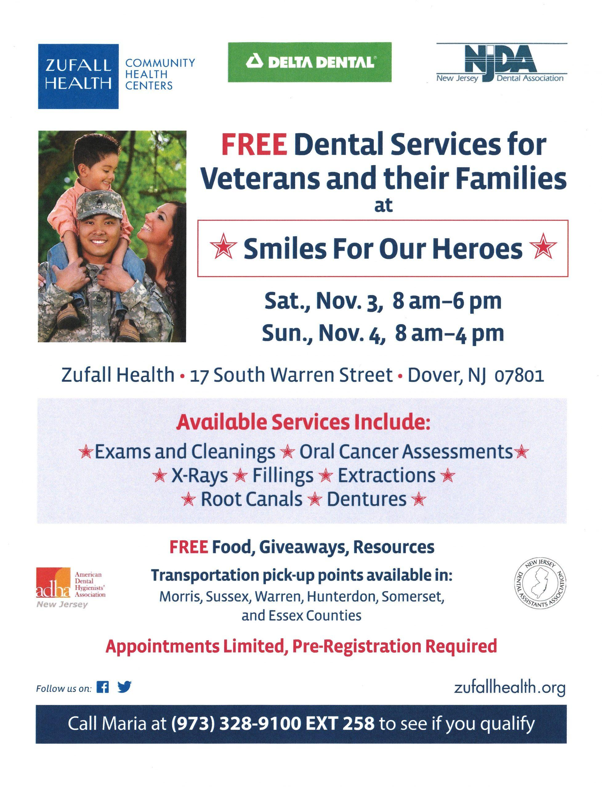 Smiles for our heroes veterans dental event flyer