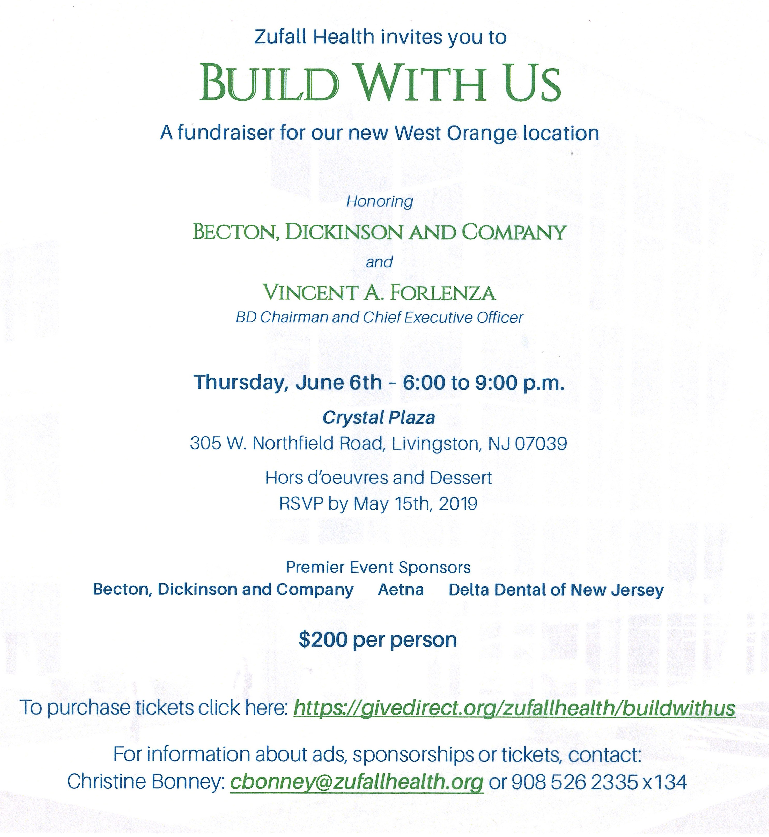 Invite for Build With Us campaign fundraising event on June 6