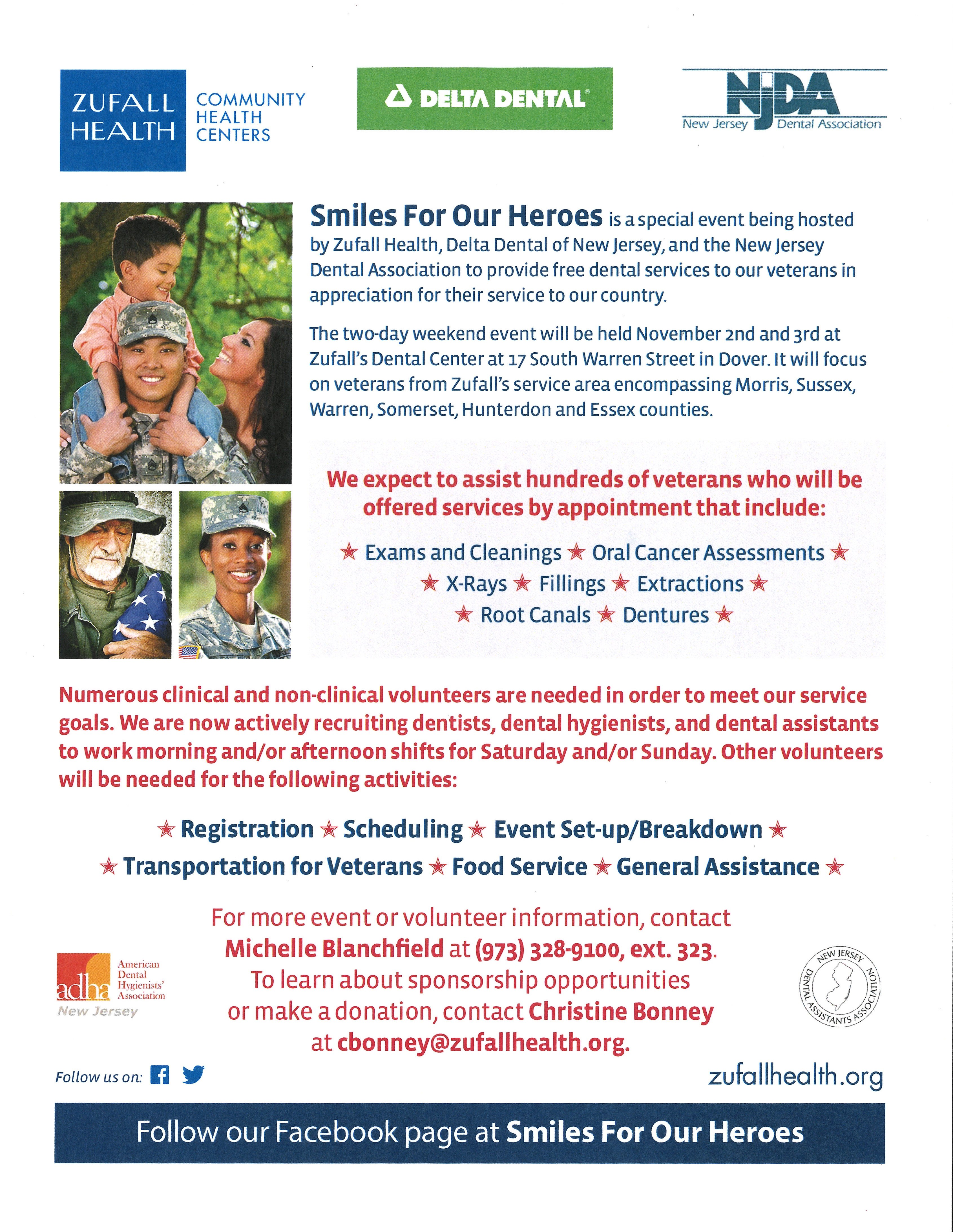 Flyer for Smiles for Our Heroes veterans dental event to be held on November 2 and 3.