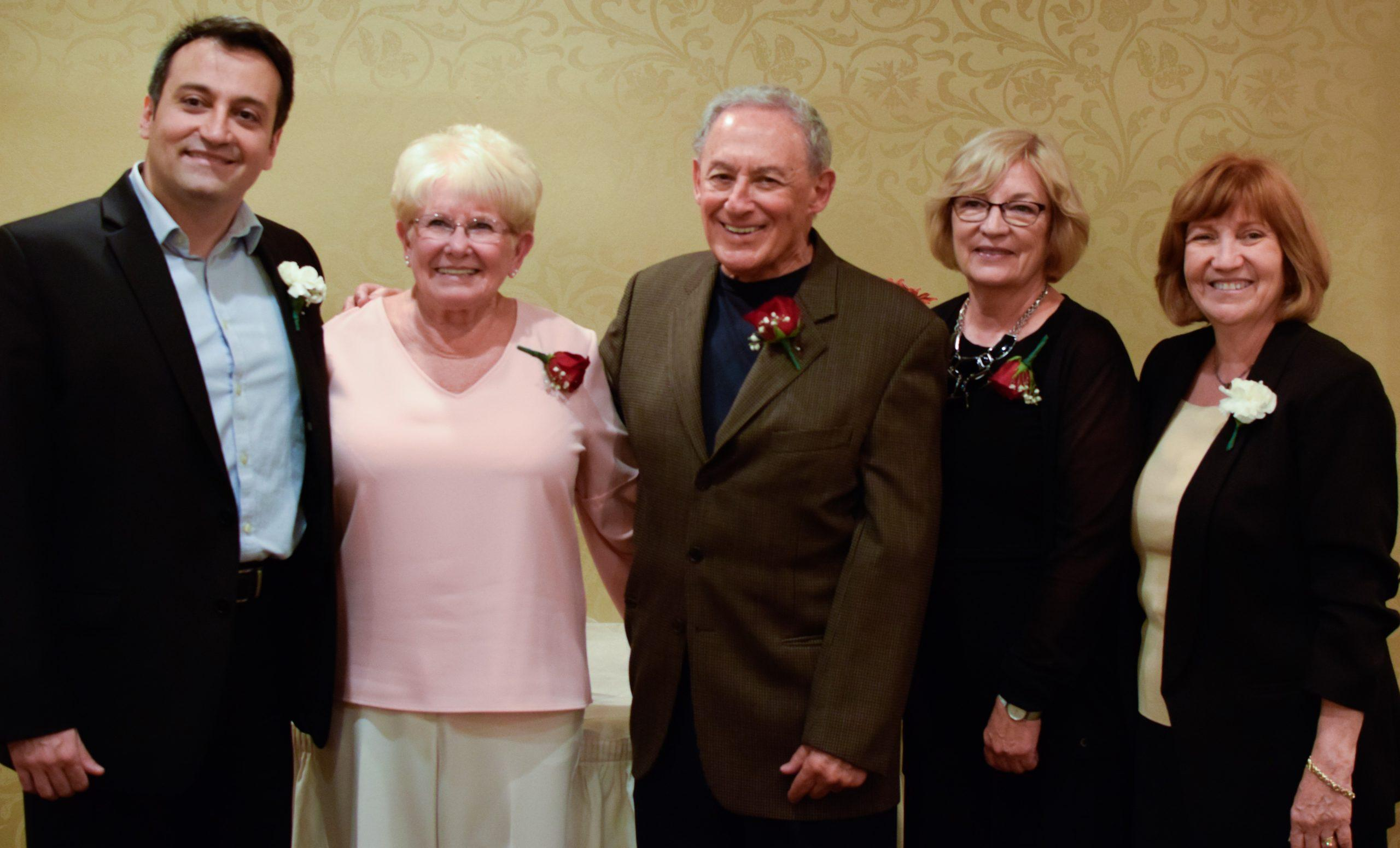 Zufall Health paid tribute to more than 100 volunteers for their dedicated service to the health center at a recent event at the Bridgewater Manor. Pictured from left: Dr. Sam Wakim, DMD, Zufall chief dental officer; Betsy Roberts, senior vice president, Fulton Bank (retired); 2019 Volunteer of the Year Dr. Howard Rappoport, DMD; Phyllis Kumpf, Good as New Volunteer; and Eva Turbiner, Zufall President and CEO.