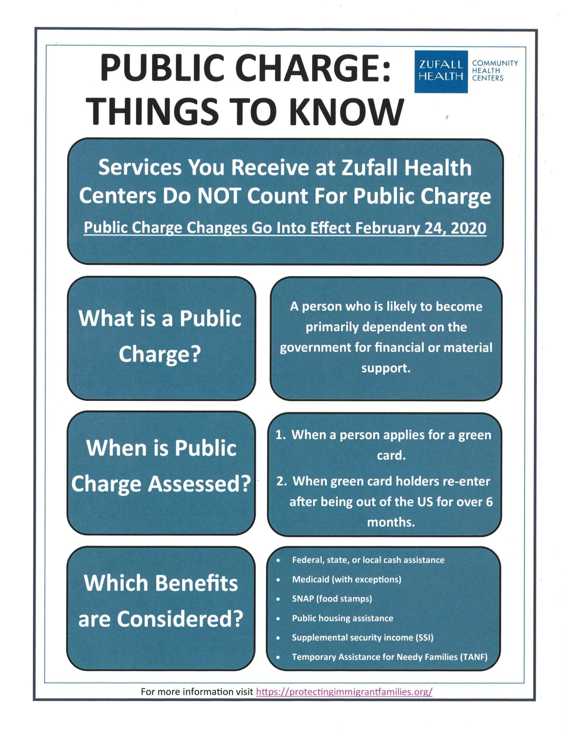 A flyer about things to know about Public Charge changes as of February 24, 2020.