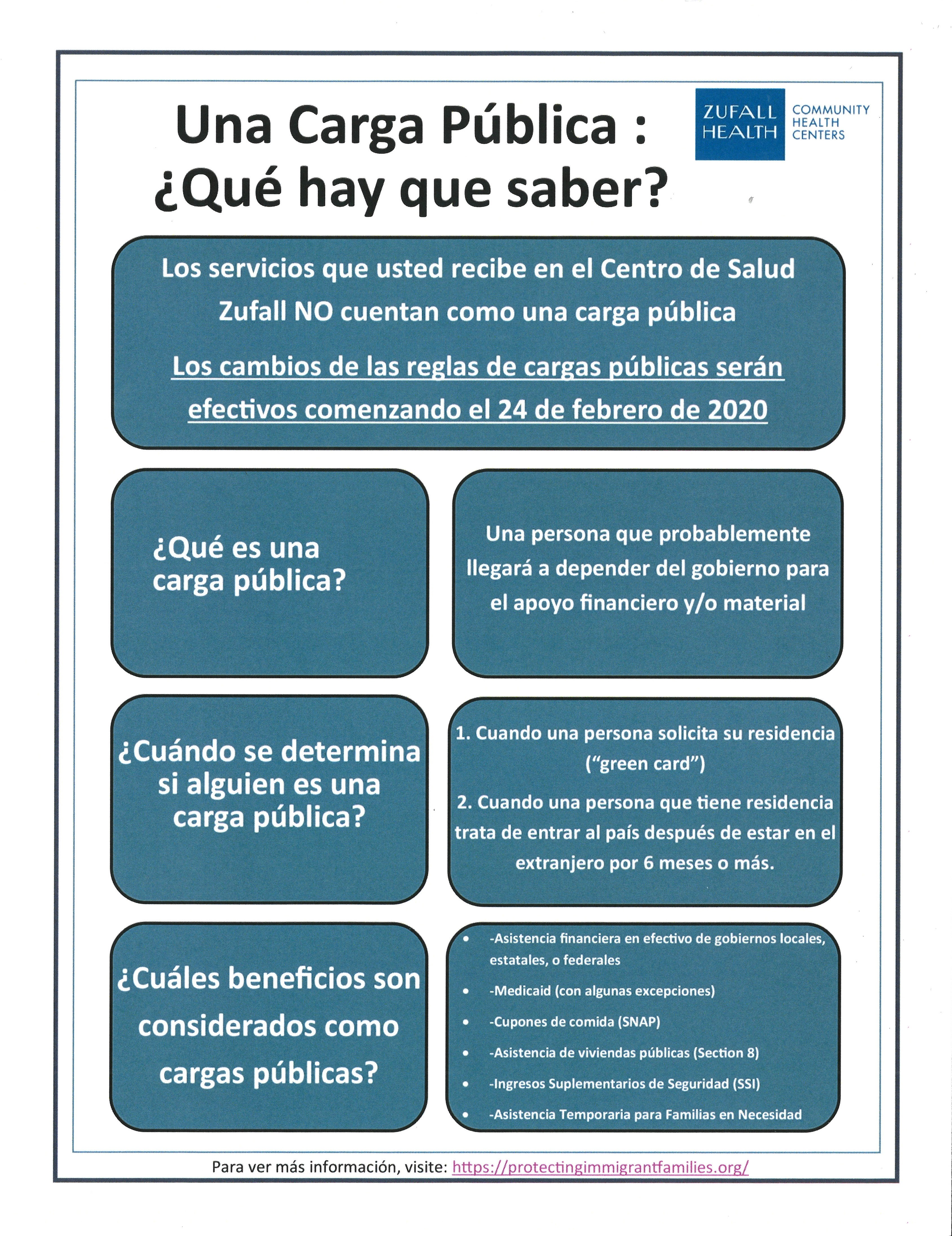 Public Charge: Things to Know flyer in Spanish