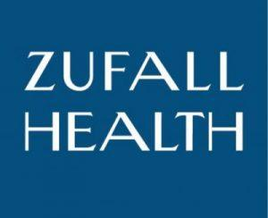 Zufall Health logo. Zufall Health written in whiote on a square field of teal