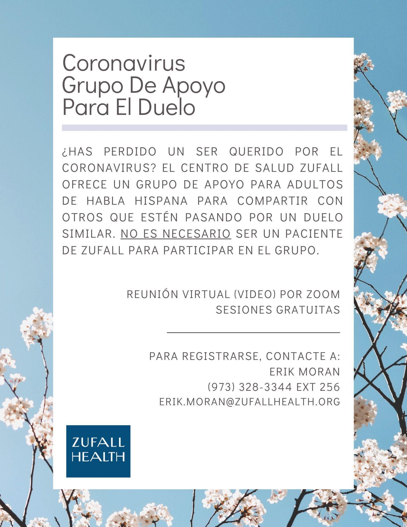 Coronavirus Grief and Loss Support flyer in Spanish