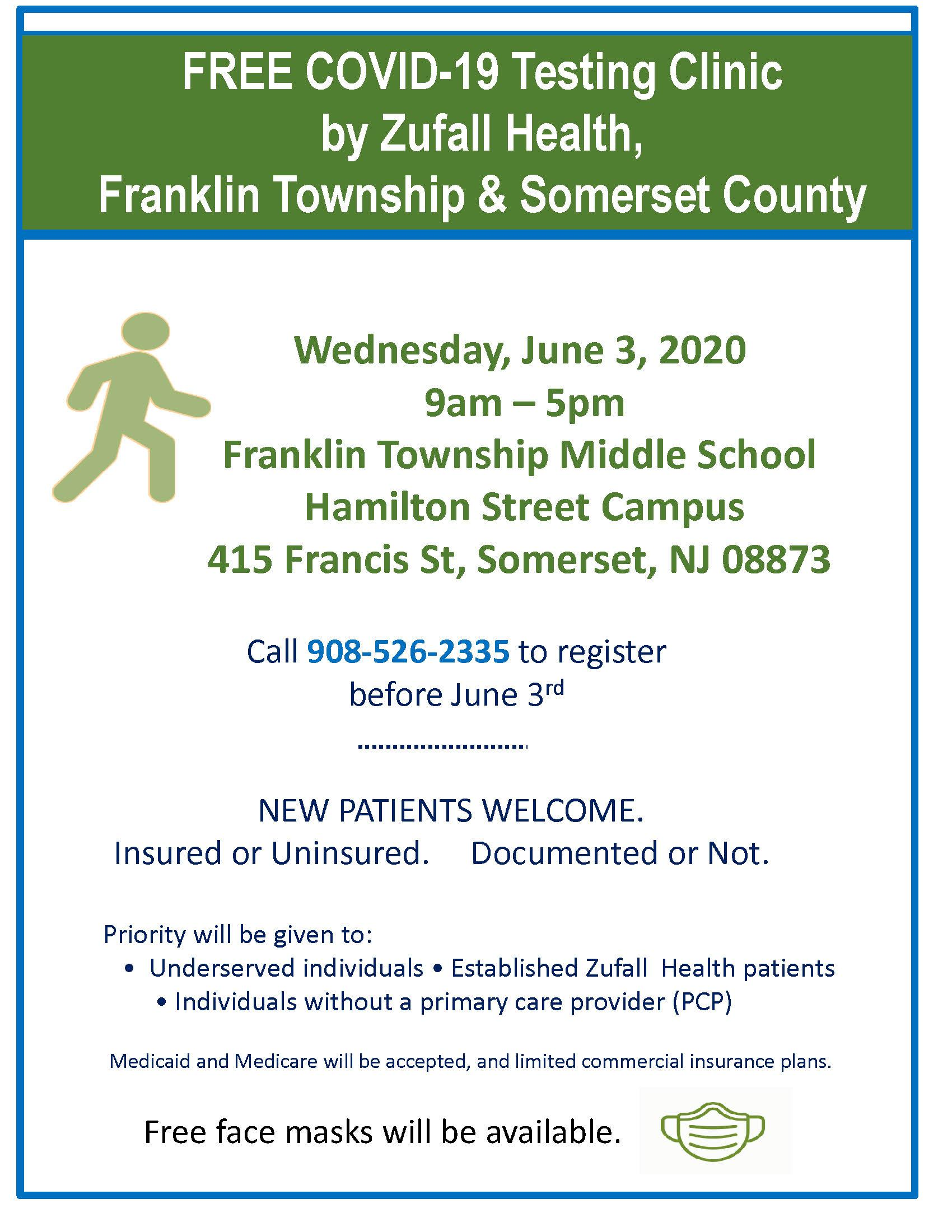 Flyer for Free COVID-19 Testing Clinic in Franklin Township, NJ