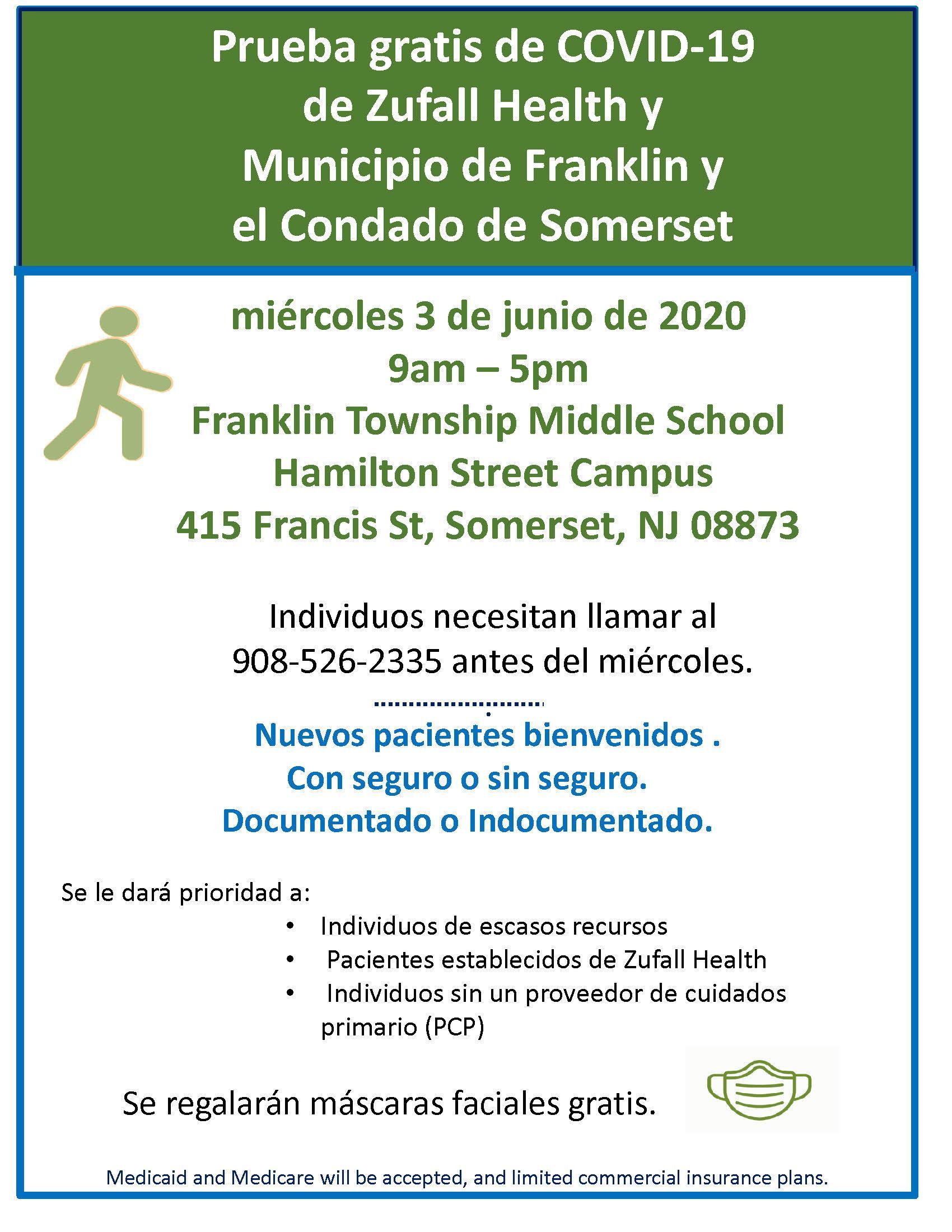 Folleto para prueba gratis de COVID-19 de Zufall Health y Municipio de Franklin y el Condado de Somerset el miércoles 3 de junio de 9:00 a.m. - 5:00 p.m.en Franklin Township Middle School, el campus de Hamilton Street.