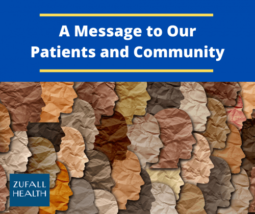 "An image with the heading ""A Message to Our Patients and Community"". Below the heading are rows of paper cutouts of faces in profile depicting various skin tones. The image is intended to suggest diversity and community."