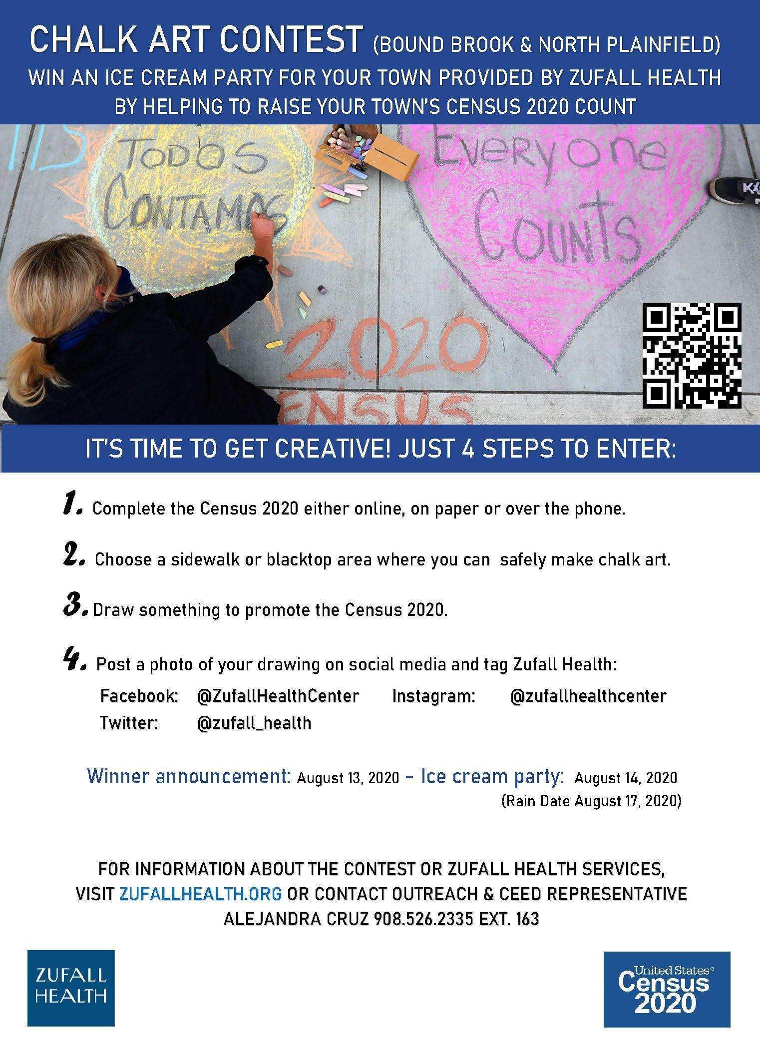Flyer announcing a chalk art contest in North Plainfield and Bound Brook to help raise the towns' Census response rates.
